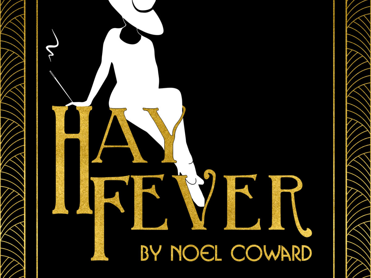 Silohuette of a woman in a large hat, sat atop the words Hay Fever