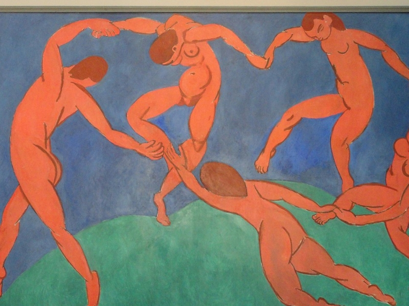 A photo of Henry Matisse' La Danse, Five nude figures dance in a circle holding hands